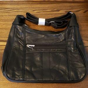 Genuine Leather 2 Zipper Comparments Purse - Black